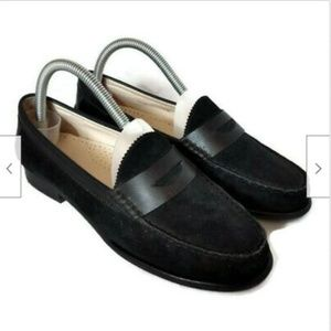 Cole Haan black suede penny loafers flats